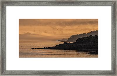 Framed Print featuring the photograph Lifting Fog At Sunrise On Campobello Coastline by Marty Saccone