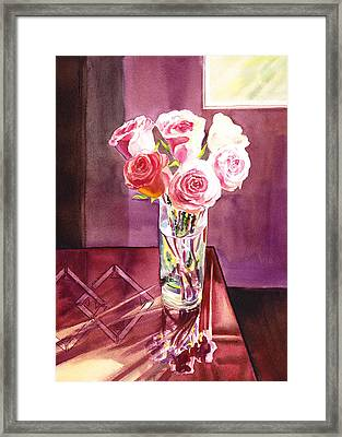 Light And Roses Impressionistic Still Life Framed Print by Irina Sztukowski