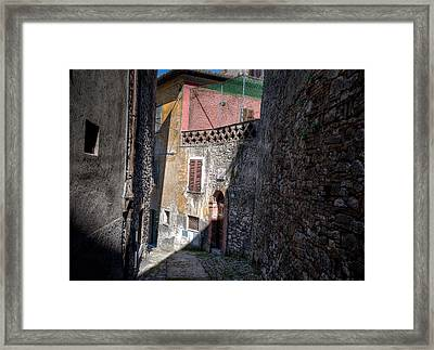 Framed Print featuring the photograph Light At The End Of The Alley by Uri Baruch