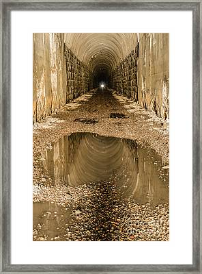 Framed Print featuring the photograph Light At The End Of The Tunnel by Sue Smith