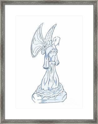 Light Blue Abstract Angel Drawing Framed Print