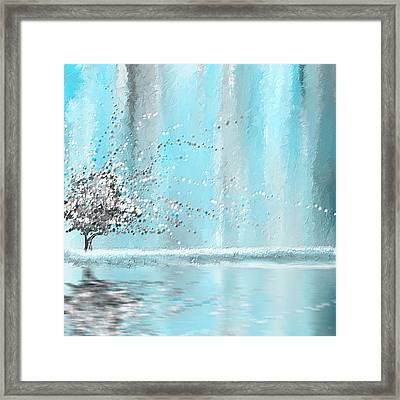 Light Blue And Gray Framed Print by Lourry Legarde