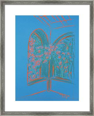 Light Blue Patio Framed Print by Marcia Meade