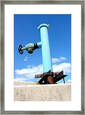 Light Blue Pipe Industrial Decay Series No 005 Framed Print by Design Turnpike