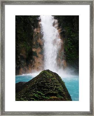 Light-blue Waterfall Framed Print by Rosvin Des Bouillons