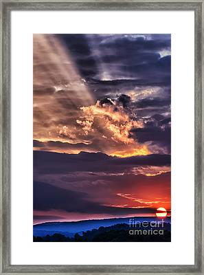 Light Breaks Through Clouds Sunrise Framed Print by Thomas R Fletcher