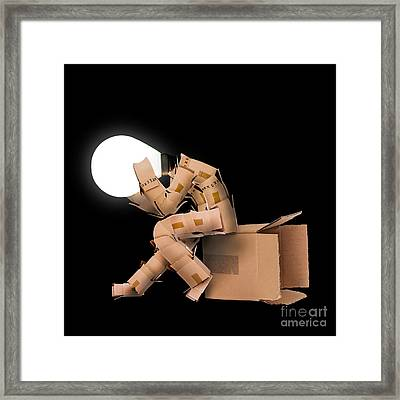 Light Bulb Box Man Character Framed Print by Simon Bratt Photography LRPS