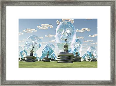 Light Bulb Heads And Dollar Symbol Clouds Framed Print