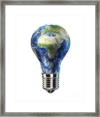Light Bulb With Planet Earth Framed Print by Leonello Calvetti