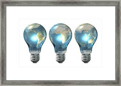 Light Bulb World Globe Series Framed Print