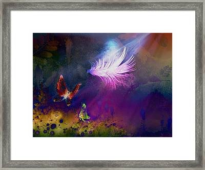 Framed Print featuring the painting Light Feather by Lilia D