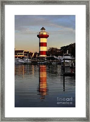 Light House At Harbour Town Framed Print by Dan Friend