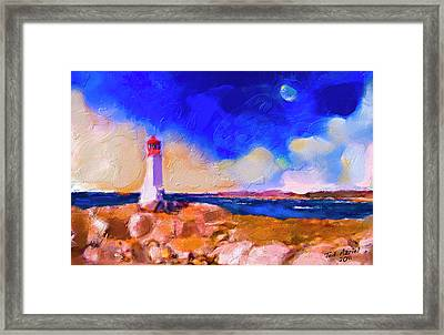Framed Print featuring the painting Light House At Peggys Cove by Ted Azriel