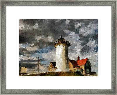 Light House In A Storm Framed Print