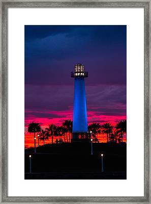 Light House In The Firey Sky Framed Print