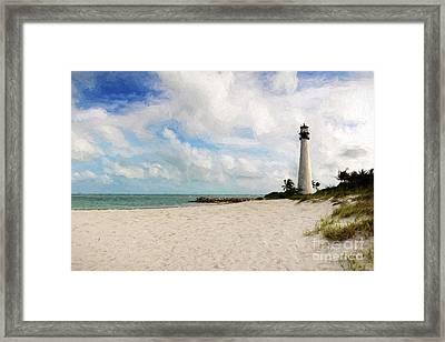 Light House On The Beach Framed Print