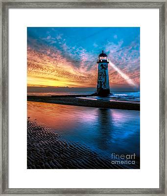 Light House Sunset Framed Print