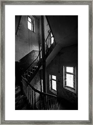 Light In The Dark Abandoned Staircase Framed Print by Dirk Ercken
