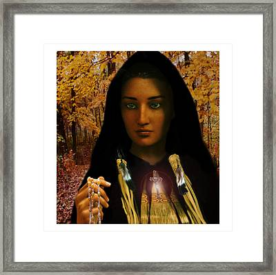 Framed Print featuring the painting Saint Kateri Tekakwitha Light In The Darkness by Suzanne Silvir