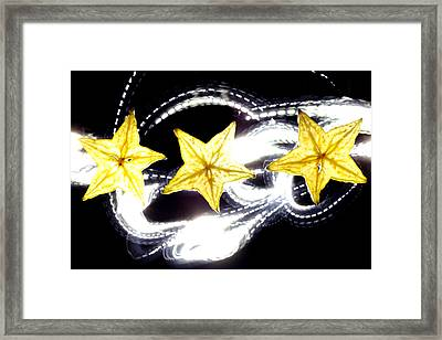 Light Painting On Star Fruit Slice Framed Print by Paul Ge