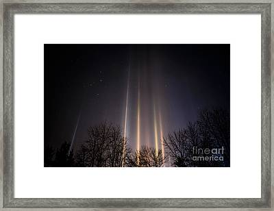 Light Pillars And Cassiopeia Framed Print