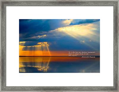 Light Quote Aristotle Onassis Framed Print