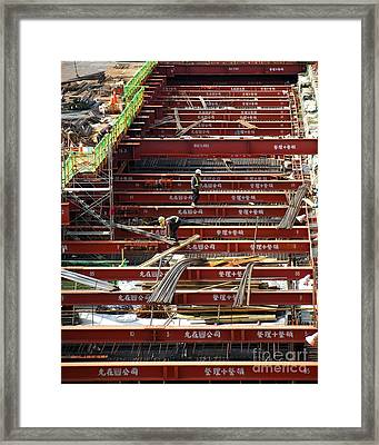 Light Rail System Construction In Kaohsiung Framed Print