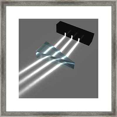 Light Refraction With Prism Framed Print