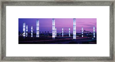Light Sculptures Lit Up At Night, Lax Framed Print by Panoramic Images