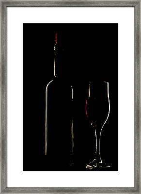 Light Silhouette Of Bottle And Wineglass Framed Print by Roman Popov