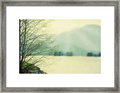 Light Streams Over A Mountain Framed Print by Roberta Murray