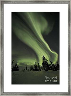 Light Swirls Over The Midnight Dome Framed Print