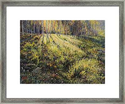 Framed Print featuring the painting Light Through The Aspens by Steve Spencer