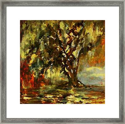 Light Through The Moss Tree Landscape Painting Framed Print