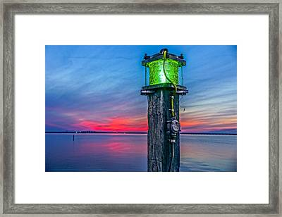 Light Tower In Evening Gloom Framed Print