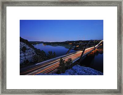 Light Trails At Pennybacker Bridge Framed Print by Kevin Pate