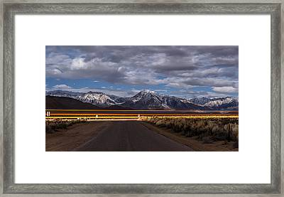 Light Trails Framed Print by Cat Connor