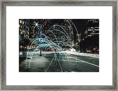 Light Trails On City Road At Night Framed Print by Kevin Martinez / Eyeem