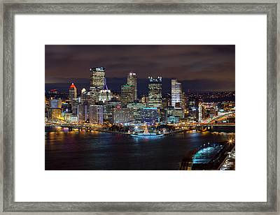 Light Up Night Pittsburgh 3 Framed Print by Emmanuel Panagiotakis