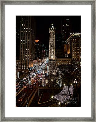 Light Up The Night -michigan Avenue In Chicago Illinois Framed Print by Linda Matlow