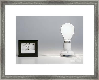 Lightbulb Attached To Ammeter Framed Print