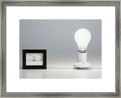 Lightbulb Attached To Ammeter Framed Print by Dorling Kindersley/uig