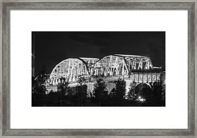 Lighted Pedestrian Bridge  Framed Print by Robert Hebert