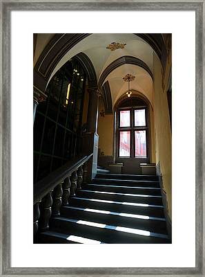 Lighted Stairs Framed Print