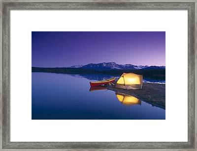 Lighted Tent & Canoe Byers Lake Tokosha Framed Print by Michael DeYoung