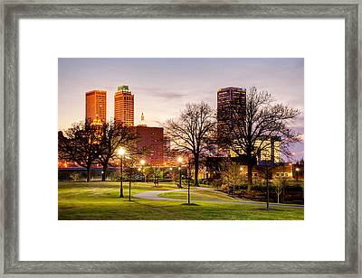 Framed Print featuring the photograph Lighted Walkway To The Tulsa Oklahoma Skyline by Gregory Ballos