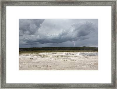 Framed Print featuring the photograph Lightening At Yellowstone by Belinda Greb