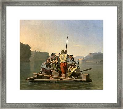 Lighter Relieving A Steamboat Aground Framed Print