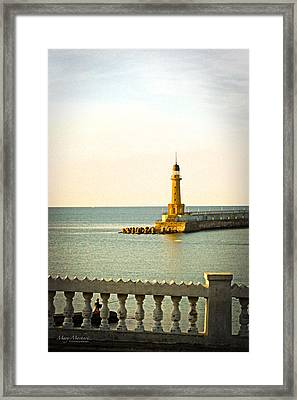 Lighthouse - Alexandria Egypt Framed Print by Mary Machare