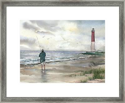 Lighthouse And Fisherman Framed Print by Beth Kantor